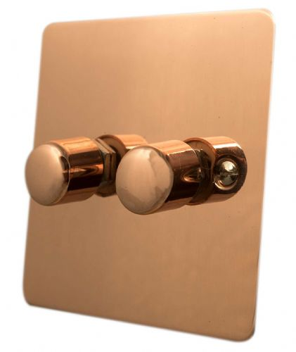 G&H FBC12 Flat Plate Bright Copper 2 Gang 1 or 2 Way 40-400W Dimmer Switch